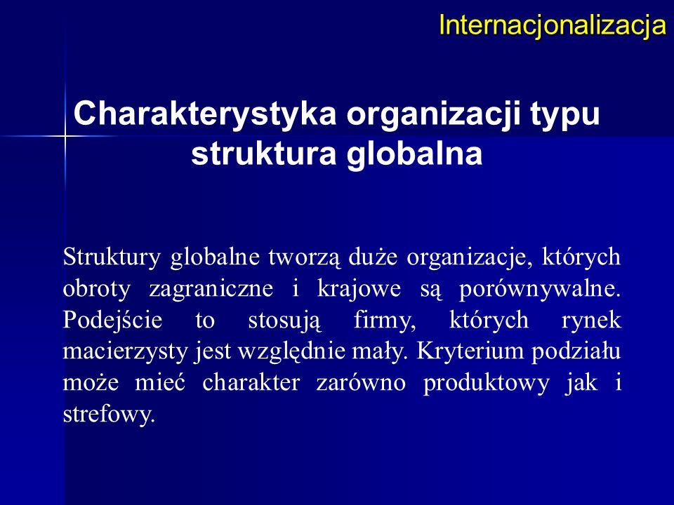 Internacjonalizacja Struktury globalne tworzą duże organizacje, których obroty zagraniczne i krajowe są porównywalne. Podejście to stosują firmy, któr