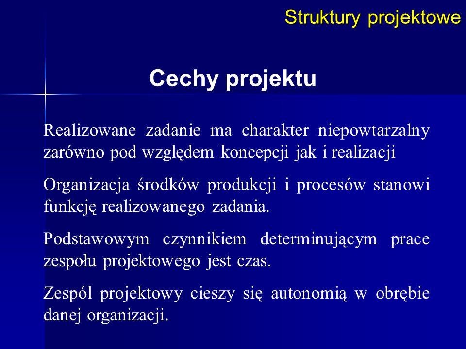Struktury projektowe Realizowane zadanie ma charakter niepowtarzalny zarówno pod względem koncepcji jak i realizacji Organizacja środków produkcji i p