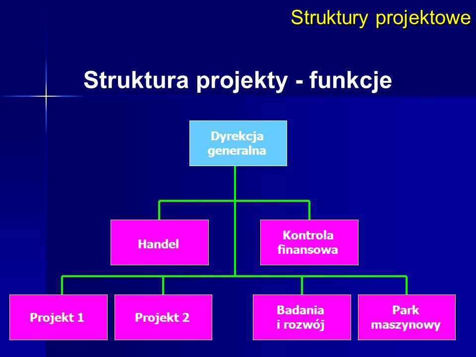 Struktury projektowe Struktura projekty - funkcje Dyrekcja generalna Handel Badania i rozwój Projekt 1Projekt 2 Kontrola finansowa Park maszynowy