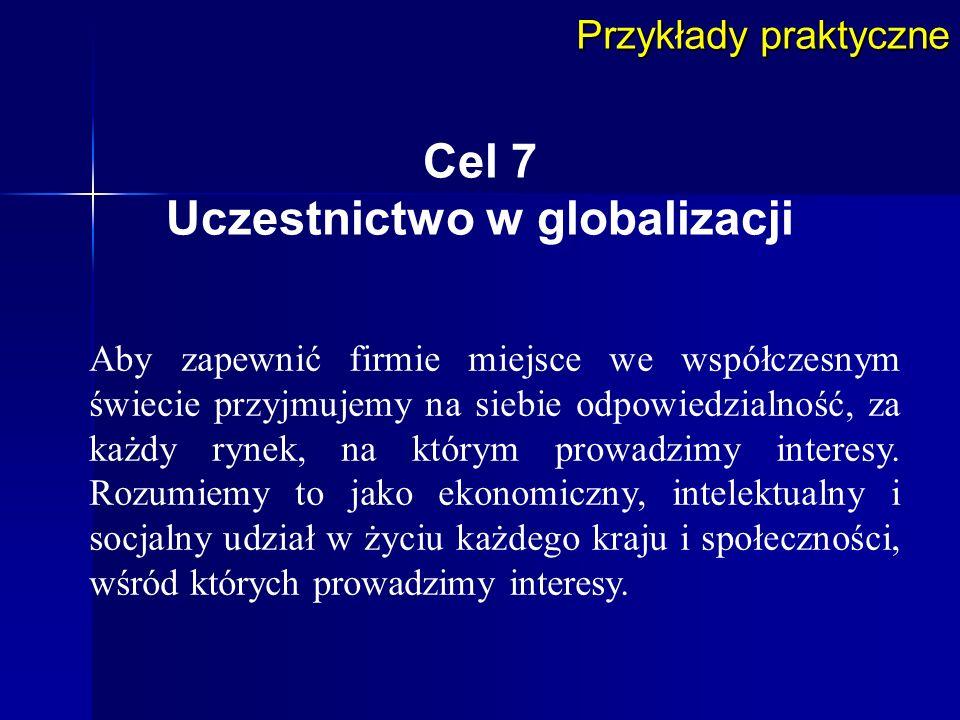 Cel 7 Uczestnictwo w globalizacji Przykłady praktyczne Aby zapewnić firmie miejsce we współczesnym świecie przyjmujemy na siebie odpowiedzialność, za