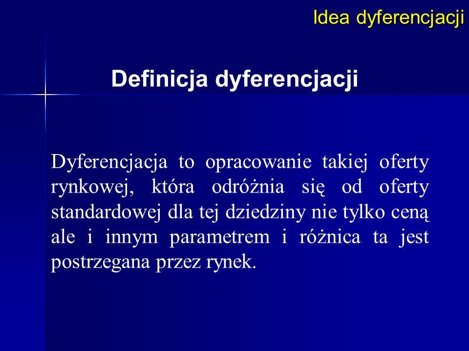 Idea dyferencjacji Definicja dyferencjacji Dyferencjacja to opracowanie takiej oferty rynkowej, która odróżnia się od oferty standardowej dla tej dzie
