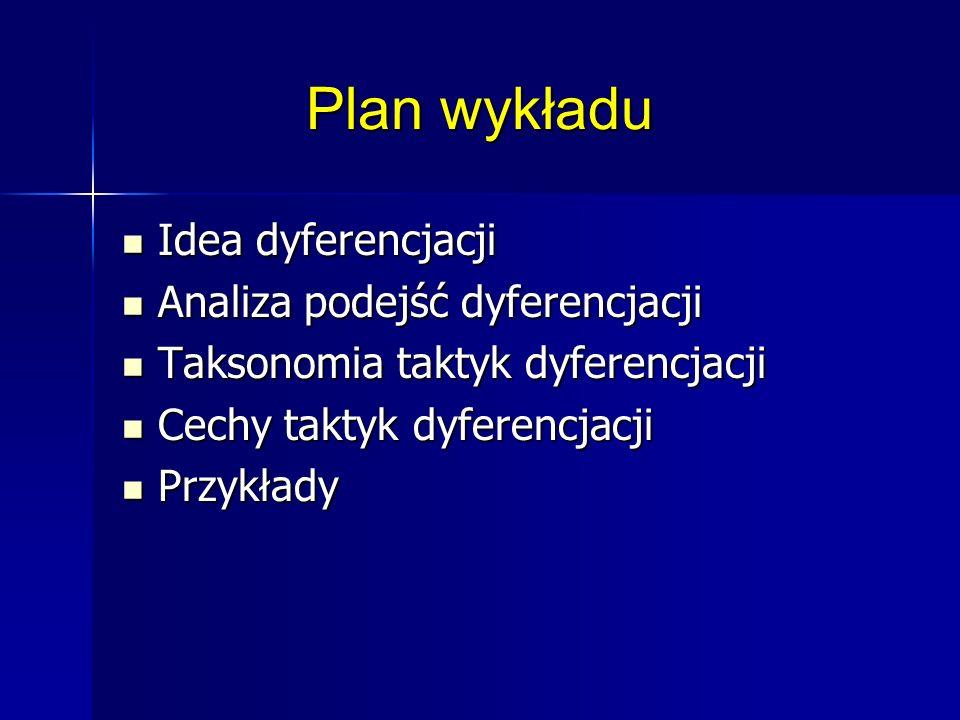 Plan wykładu Idea dyferencjacji Idea dyferencjacji Analiza podejść dyferencjacji Analiza podejść dyferencjacji Taksonomia taktyk dyferencjacji Taksono