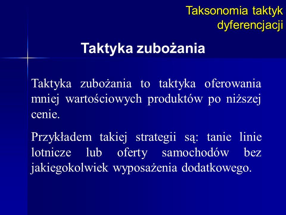 Taksonomia taktyk dyferencjacji Taktyka zubożania Taktyka zubożania to taktyka oferowania mniej wartościowych produktów po niższej cenie. Przykładem t