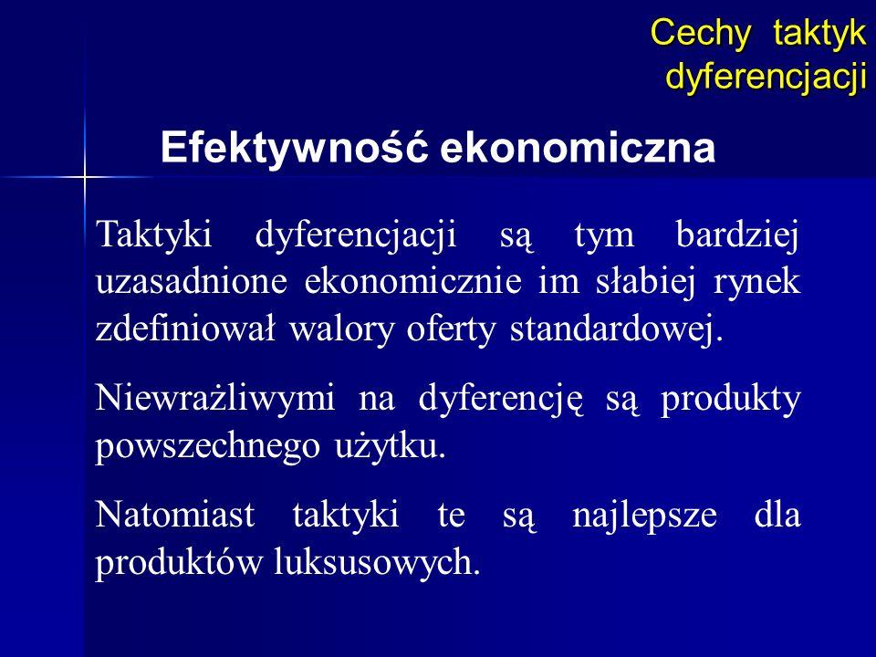 Cechy taktyk dyferencjacji Efektywność ekonomiczna Taktyki dyferencjacji są tym bardziej uzasadnione ekonomicznie im słabiej rynek zdefiniował walory