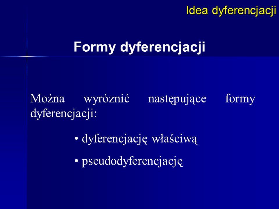 Idea dyferencjacji Formy dyferencjacji Można wyróznić następujące formy dyferencjacji: dyferencjację właściwą pseudodyferencjację