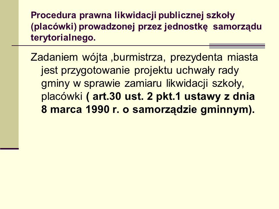 Procedura prawna likwidacji publicznej szkoły (placówki) prowadzonej przez jednostkę samorządu terytorialnego. Zadaniem wójta,burmistrza, prezydenta m