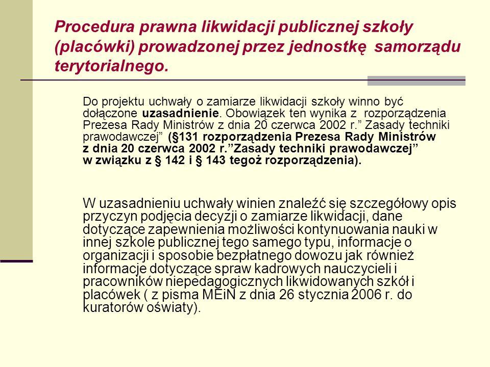 Procedura prawna likwidacji publicznej szkoły (placówki) prowadzonej przez jednostkę samorządu terytorialnego. Do projektu uchwały o zamiarze likwidac