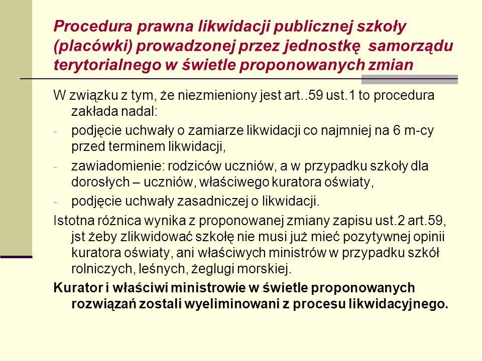 Procedura prawna likwidacji publicznej szkoły (placówki) prowadzonej przez jednostkę samorządu terytorialnego w świetle proponowanych zmian W związku