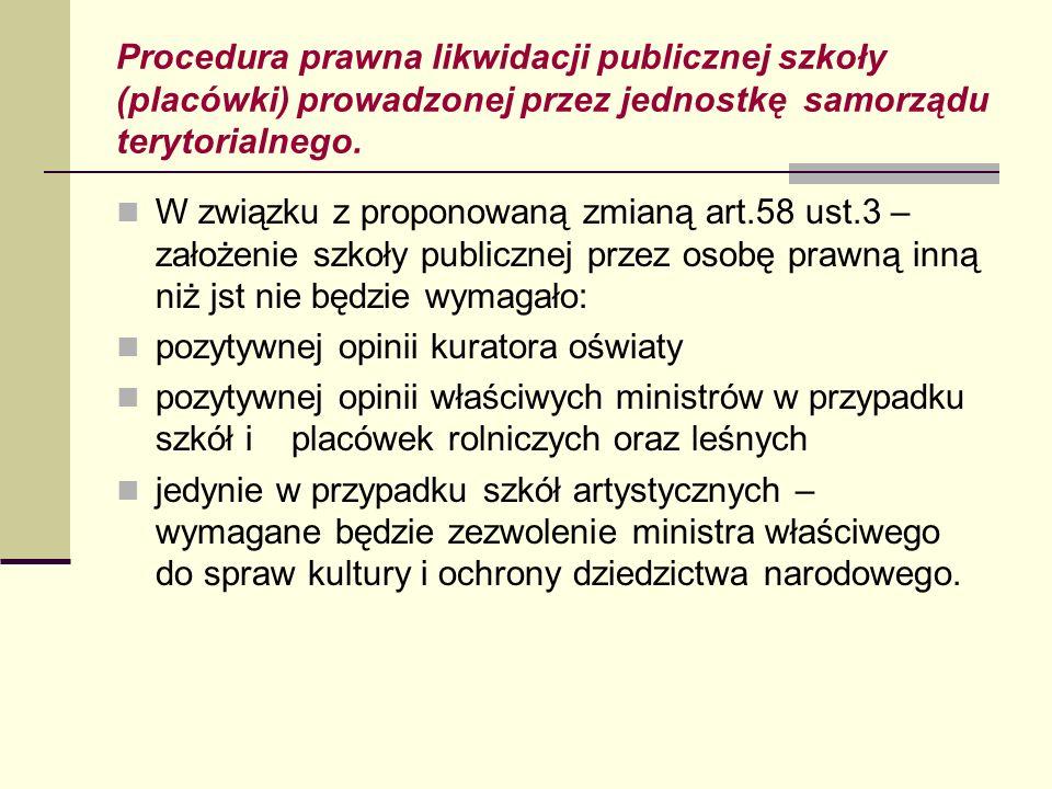 Procedura prawna likwidacji publicznej szkoły (placówki) prowadzonej przez jednostkę samorządu terytorialnego. W związku z proponowaną zmianą art.58 u