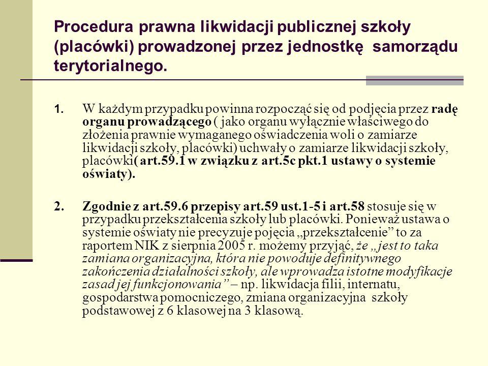 Procedura prawna likwidacji publicznej szkoły (placówki) prowadzonej przez jednostkę samorządu terytorialnego. 1. W każdym przypadku powinna rozpocząć