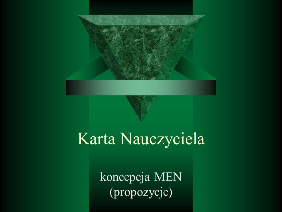 Karta Nauczyciela koncepcja MEN (propozycje)