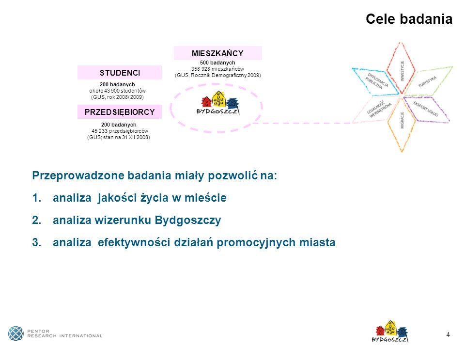 4 Cele badania Przeprowadzone badania miały pozwolić na: 1. analiza jakości życia w mieście 2. analiza wizerunku Bydgoszczy 3. analiza efektywności dz