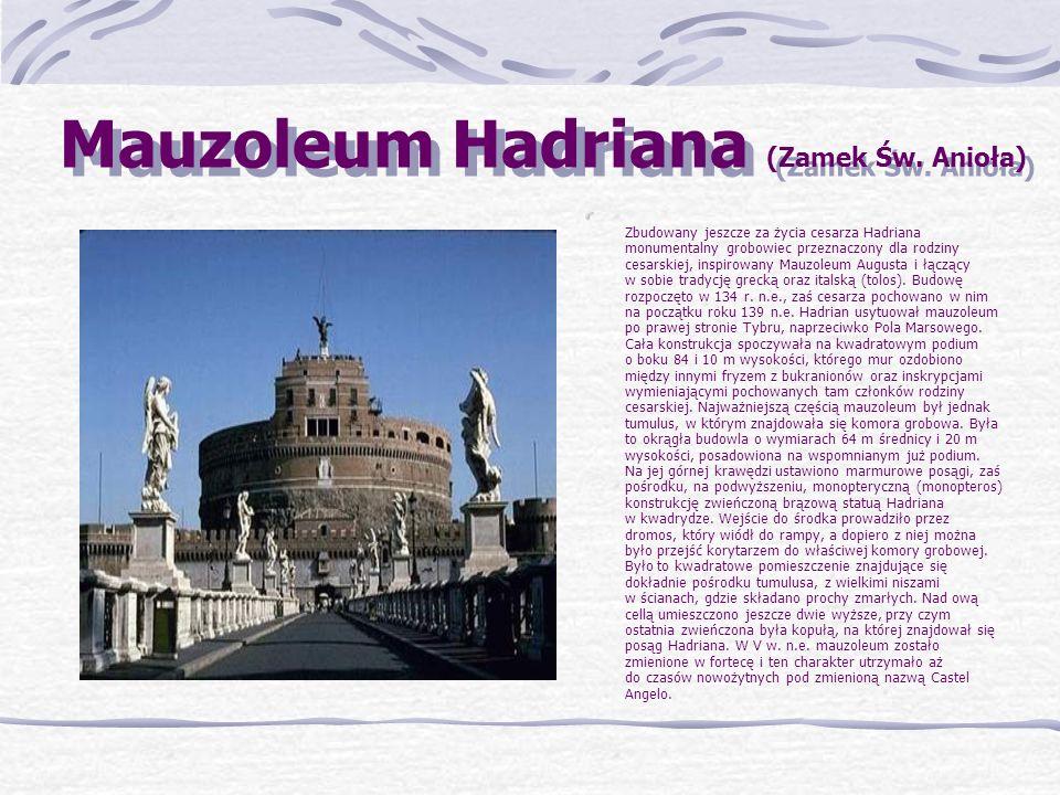 Ara Pacis Czyli Ołtarz Pokoju. Wzniesiony został przez cesarza Augusta na Polu Marsowym przy via Flaminia. Jest to budynek z marmuru na planie prostok