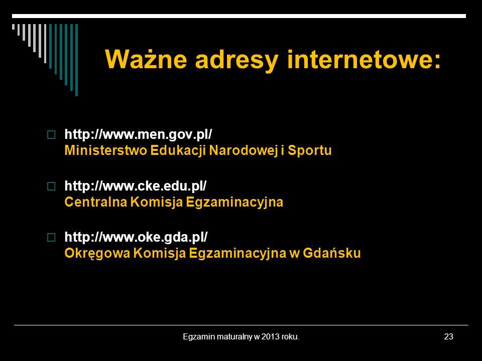 Ważne adresy internetowe: http://www.men.gov.pl/ Ministerstwo Edukacji Narodowej i Sportu http://www.cke.edu.pl/ Centralna Komisja Egzaminacyjna http: