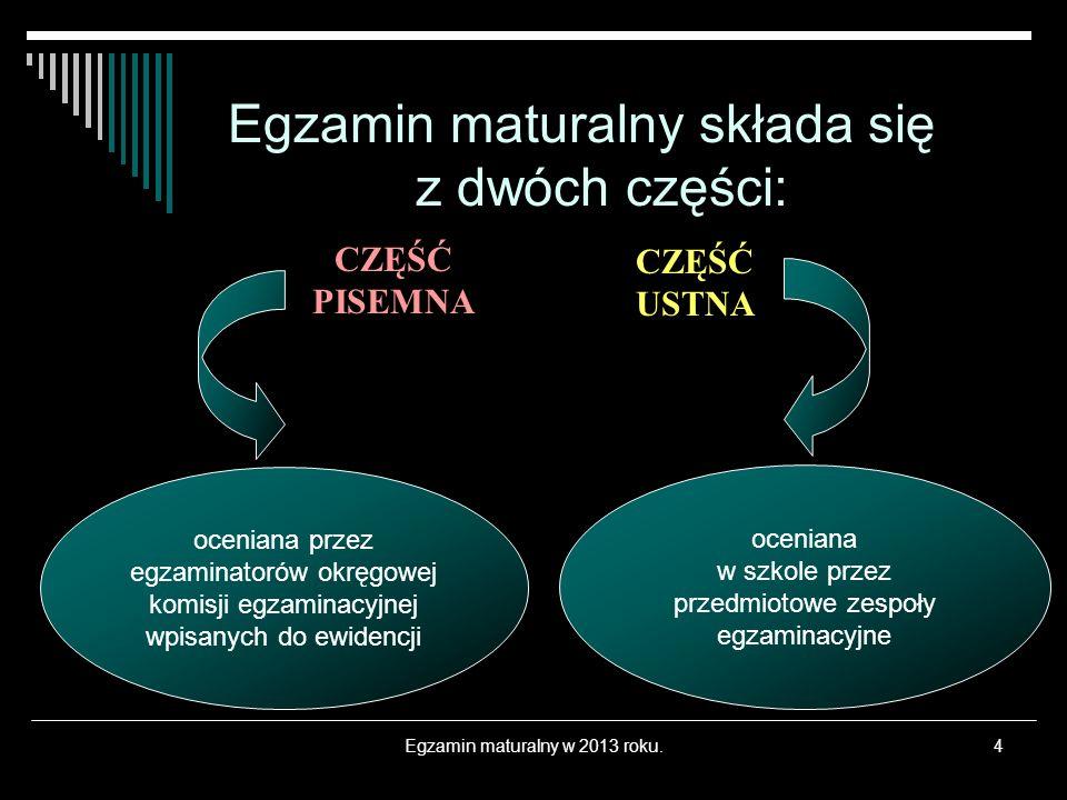 Materiały i przybory pomocnicze c.d.Egzamin maturalny w 2013 roku.15 2.