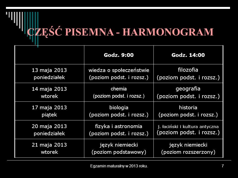 Egzamin maturalny w 2013 roku.7 CZĘŚĆ PISEMNA - HARMONOGRAM Godz. 9:00Godz. 14:00 13 maja 2013 poniedziałek wiedza o społeczeństwie (poziom podst. i r