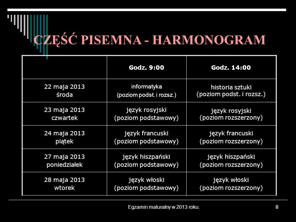 8 CZĘŚĆ PISEMNA - HARMONOGRAM Godz. 9:00Godz. 14:00 22 maja 2013 środa informatyka (poziom podst. i rozsz.) historia sztuki (poziom podst. i rozsz.) 2