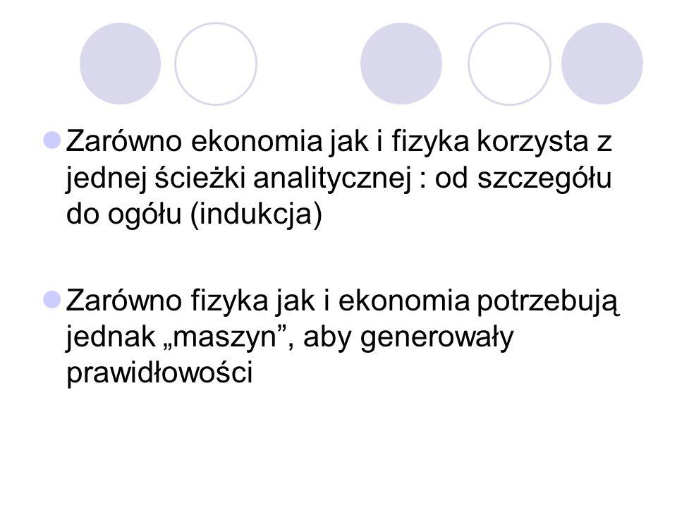 Zarówno ekonomia jak i fizyka korzysta z jednej ścieżki analitycznej : od szczegółu do ogółu (indukcja) Zarówno fizyka jak i ekonomia potrzebują jedna
