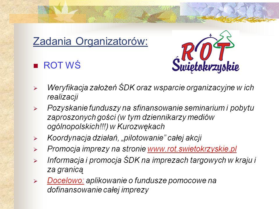 Zadania Organizatorów: Pomysł, stworzenie i realizacja założeń ŚDK Konsolidacja działań lokalnych i opracowanie programu całej imprezy Przygotowanie i