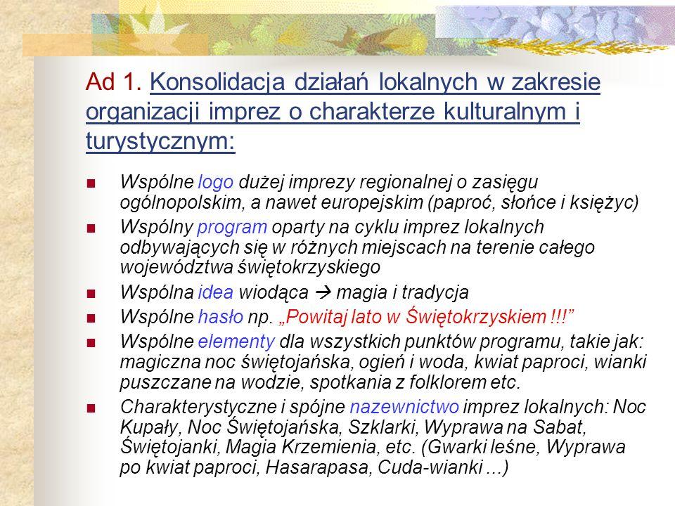 Cele podstawowe Świętokrzyskich Dni Kupały: 1. Konsolidacja działań lokalnych w zakresie organizacji imprez o charakterze kulturalnym i turystycznym 2