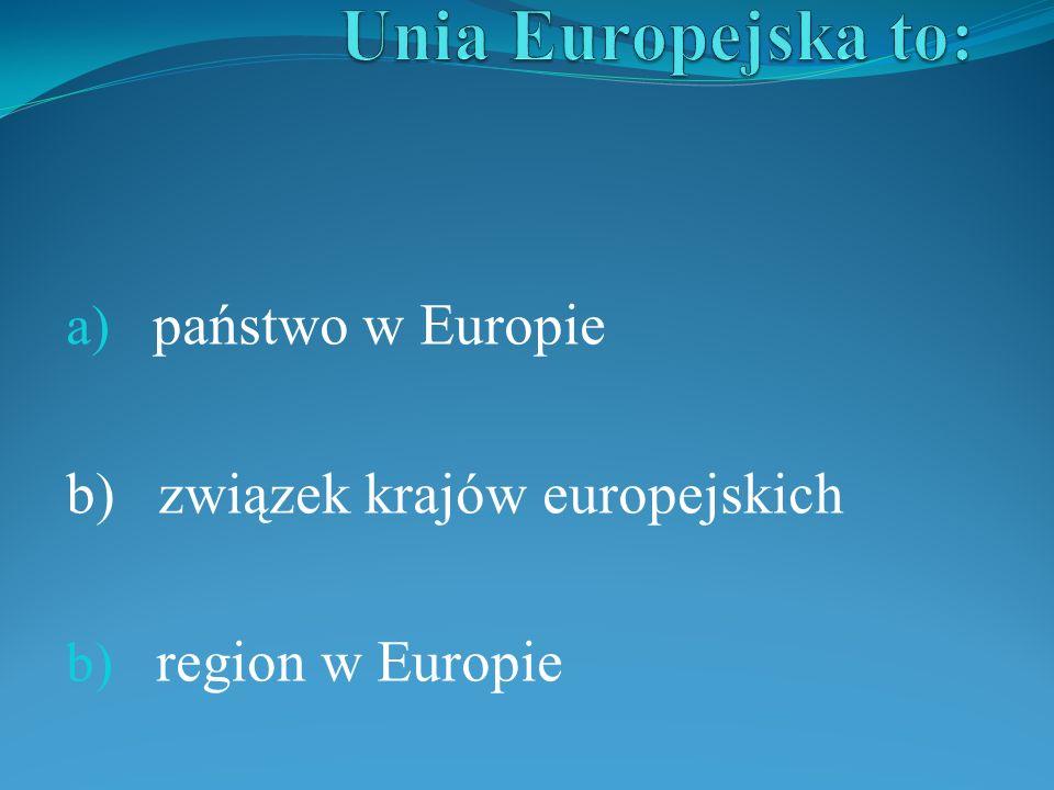 a) państwo w Europie b) związek krajów europejskich b) region w Europie