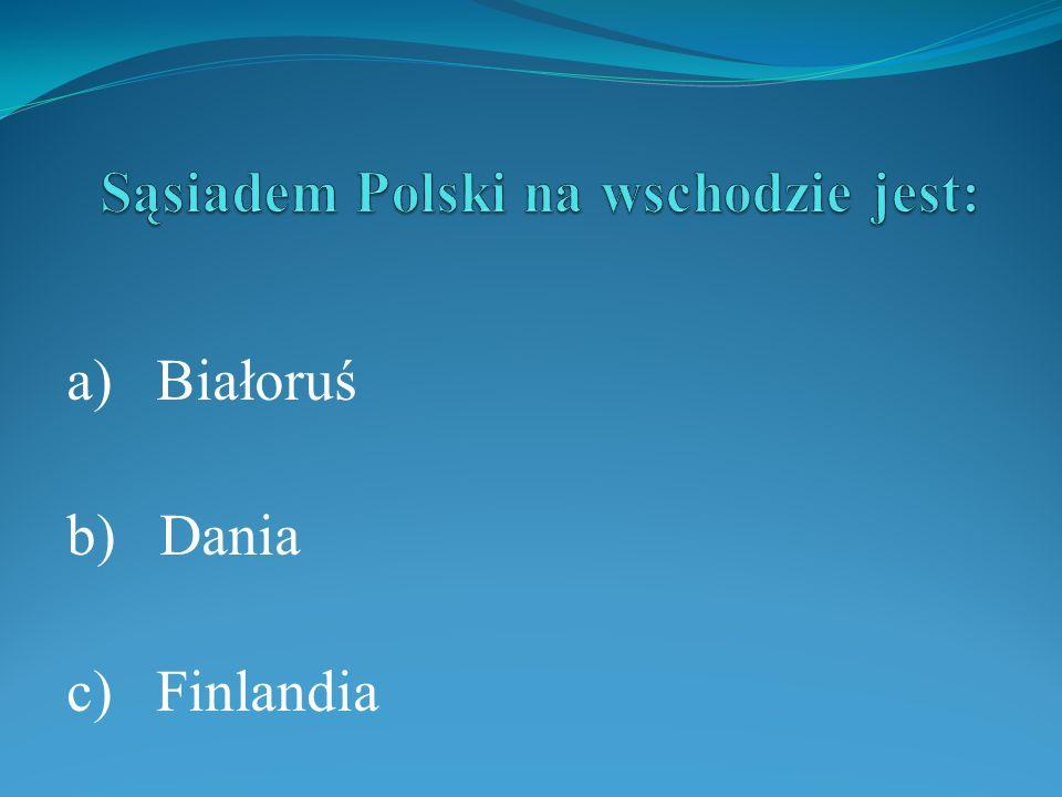 a) Białoruś b) Dania c) Finlandia