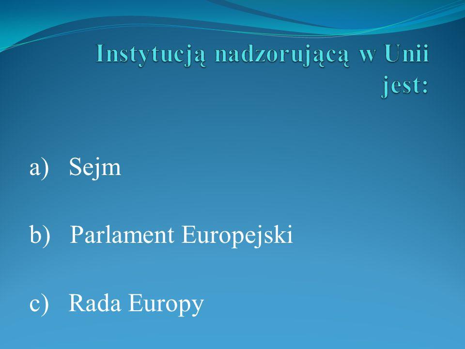 a) Sejm b) Parlament Europejski c) Rada Europy