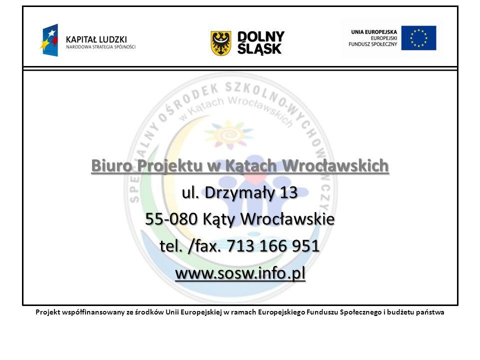 Biuro Projektu w Kątach Wrocławskich ul. Drzymały 13 55-080 Kąty Wrocławskie tel.