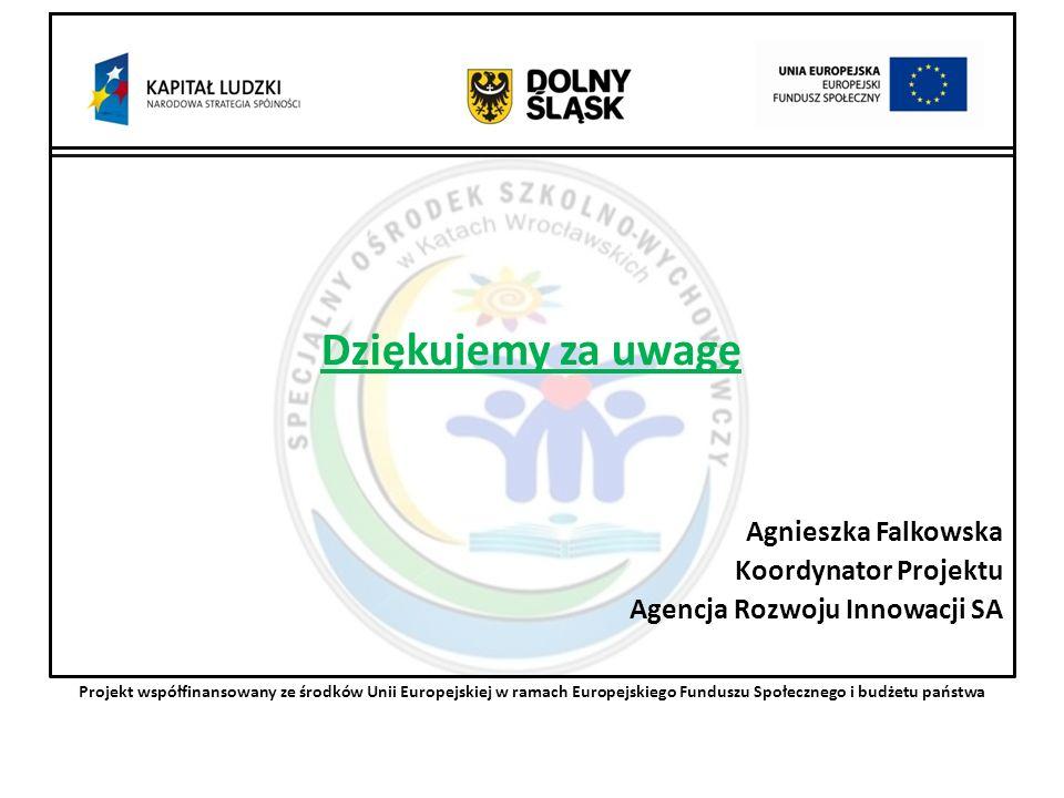 Dziękujemy za uwagę Agnieszka Falkowska Koordynator Projektu Agencja Rozwoju Innowacji SA Projekt współfinansowany ze środków Unii Europejskiej w ramach Europejskiego Funduszu Społecznego i budżetu państwa