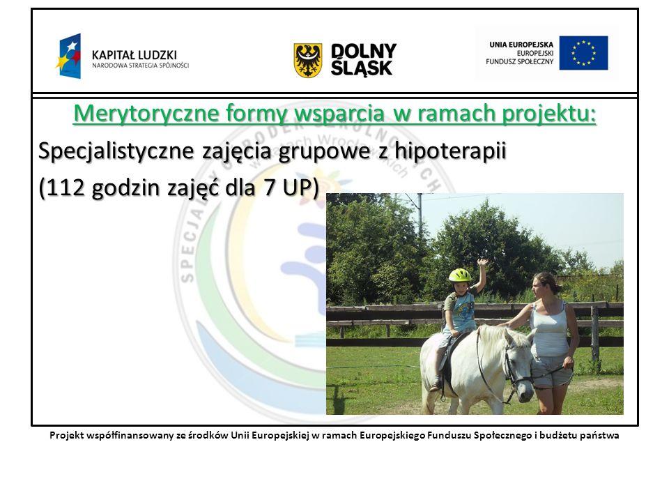 Merytoryczne formy wsparcia w ramach projektu: Specjalistyczne zajęcia grupowe z hipoterapii (112 godzin zajęć dla 7 UP) Projekt współfinansowany ze środków Unii Europejskiej w ramach Europejskiego Funduszu Społecznego i budżetu państwa
