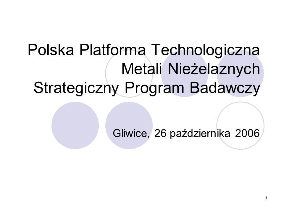 1 Polska Platforma Technologiczna Metali Nieżelaznych Strategiczny Program Badawczy Gliwice, 26 października 2006