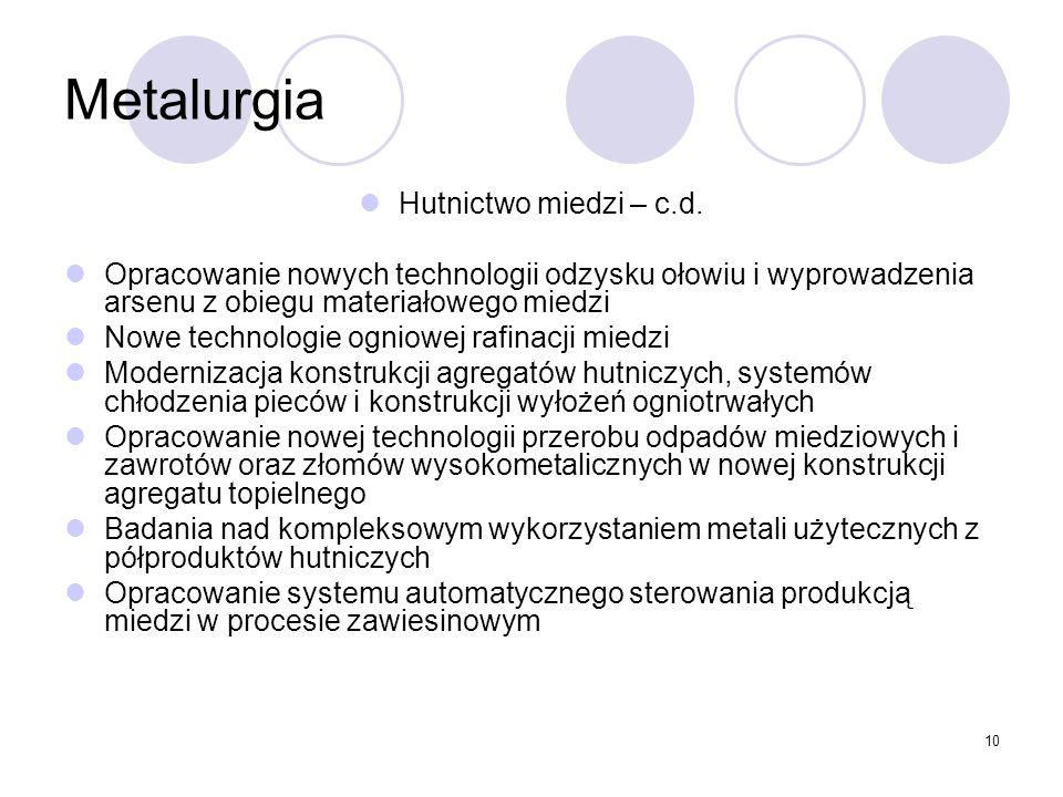 10 Metalurgia Hutnictwo miedzi – c.d.
