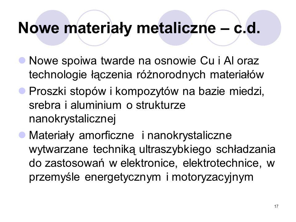 17 Nowe materiały metaliczne – c.d.
