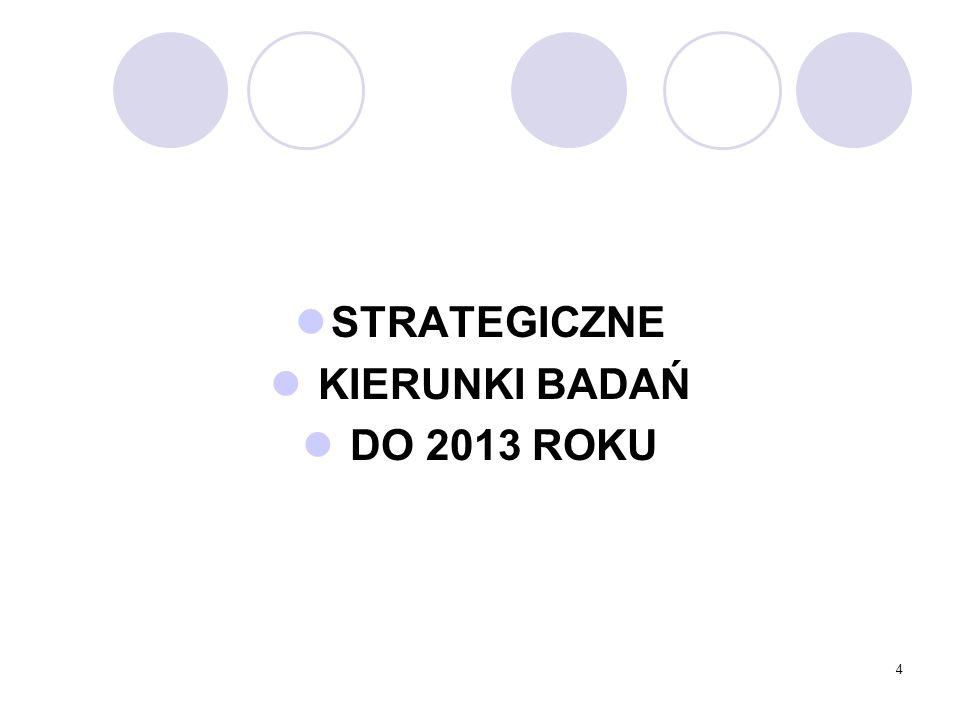 4 STRATEGICZNE KIERUNKI BADAŃ DO 2013 ROKU