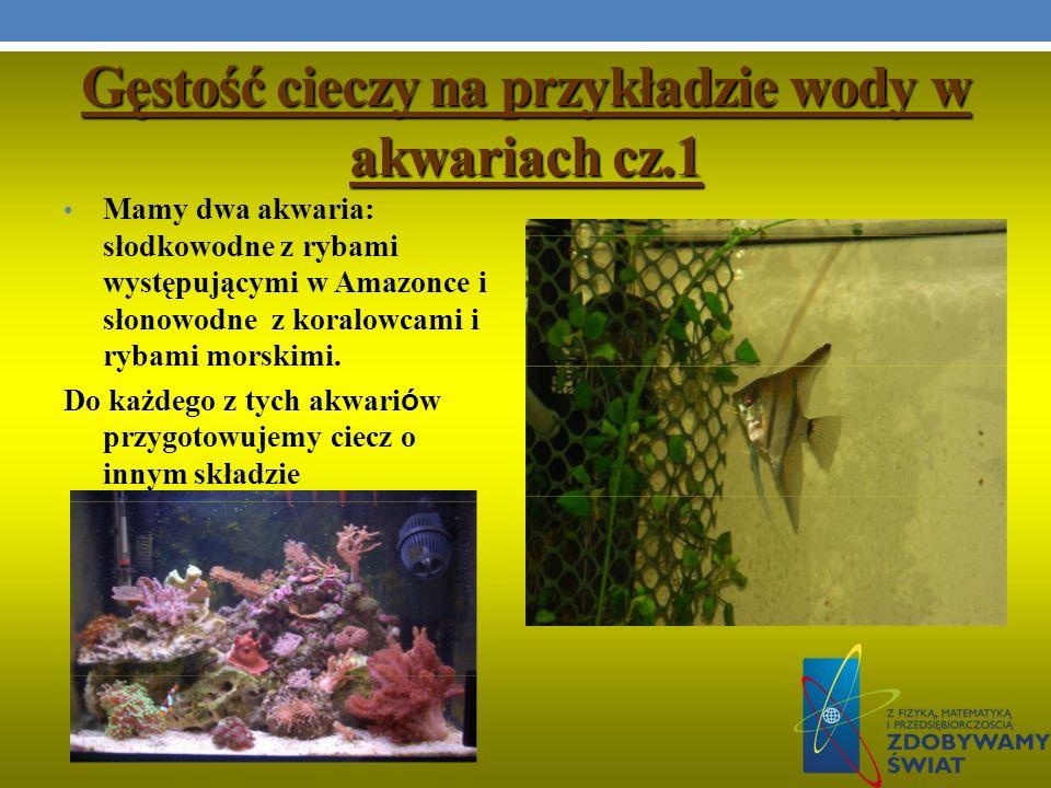 Gęstość cieczy na przykładzie wody w akwariach cz.1 Mamy dwa akwaria: słodkowodne z rybami występującymi w Amazonce i słonowodne z koralowcami i rybam