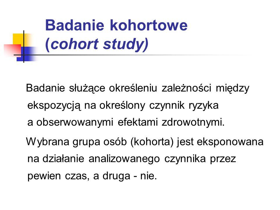 Badanie prospektywne (prospective study) Badanie, które przeprowadza się przed wystąpieniem określonego efektu końcowego, np.