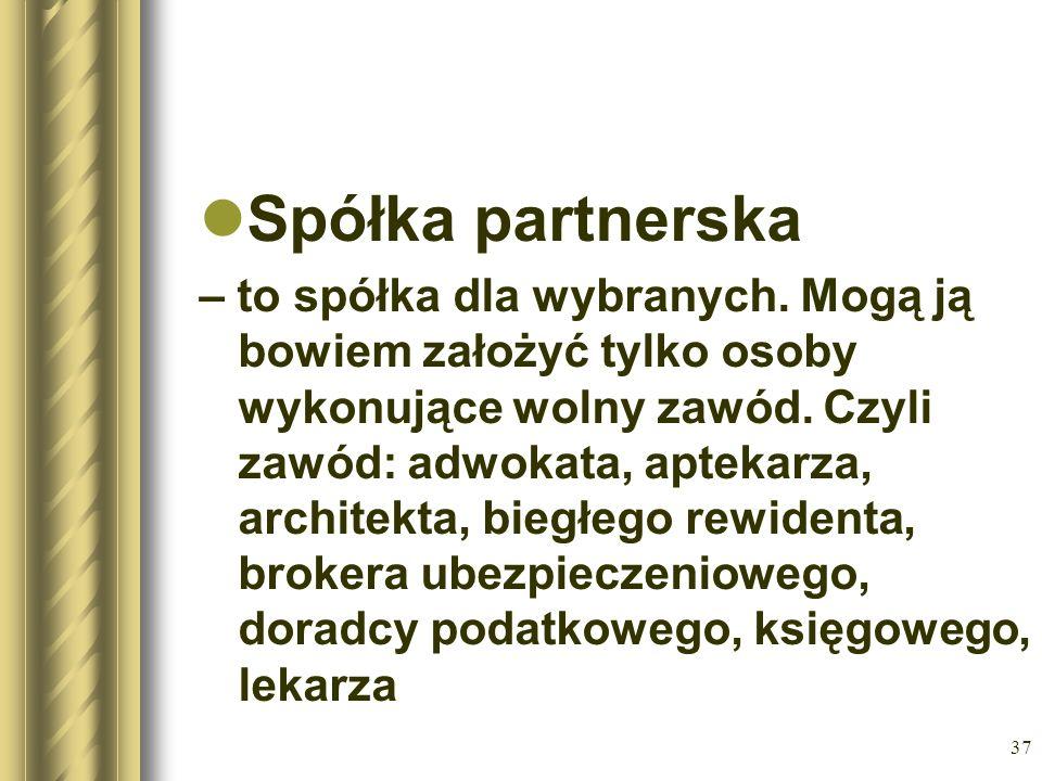 37 Spółka partnerska – to spółka dla wybranych. Mogą ją bowiem założyć tylko osoby wykonujące wolny zawód. Czyli zawód: adwokata, aptekarza, architekt