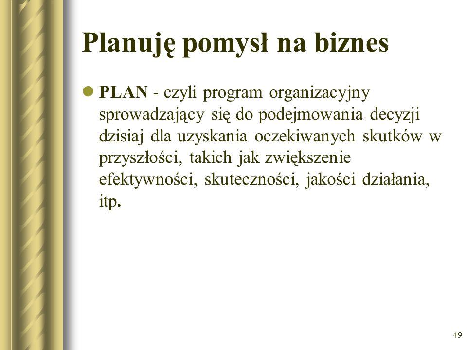 49 Planuję pomysł na biznes PLAN - czyli program organizacyjny sprowadzający się do podejmowania decyzji dzisiaj dla uzyskania oczekiwanych skutków w