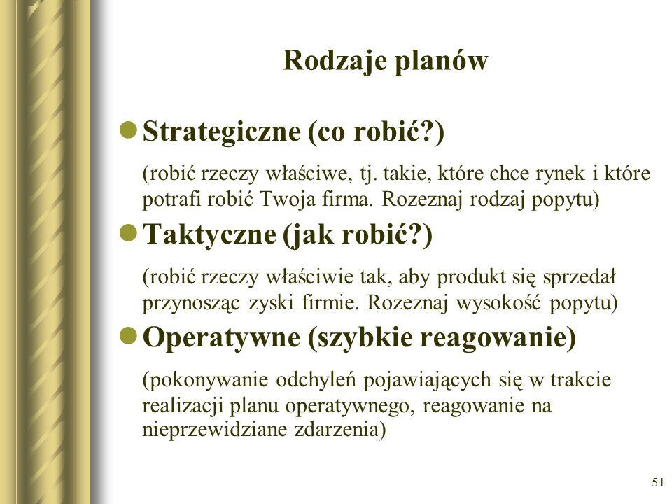 51 Rodzaje planów Strategiczne (co robić?) (robić rzeczy właściwe, tj. takie, które chce rynek i które potrafi robić Twoja firma. Rozeznaj rodzaj popy