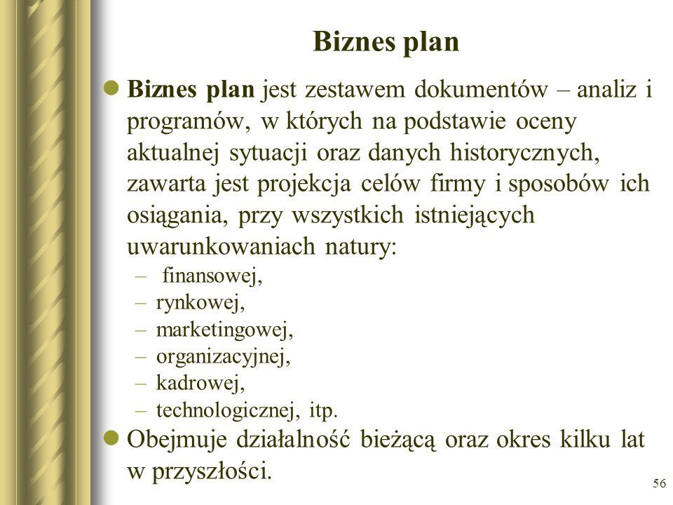 56 Biznes plan Biznes plan jest zestawem dokumentów – analiz i programów, w których na podstawie oceny aktualnej sytuacji oraz danych historycznych, z