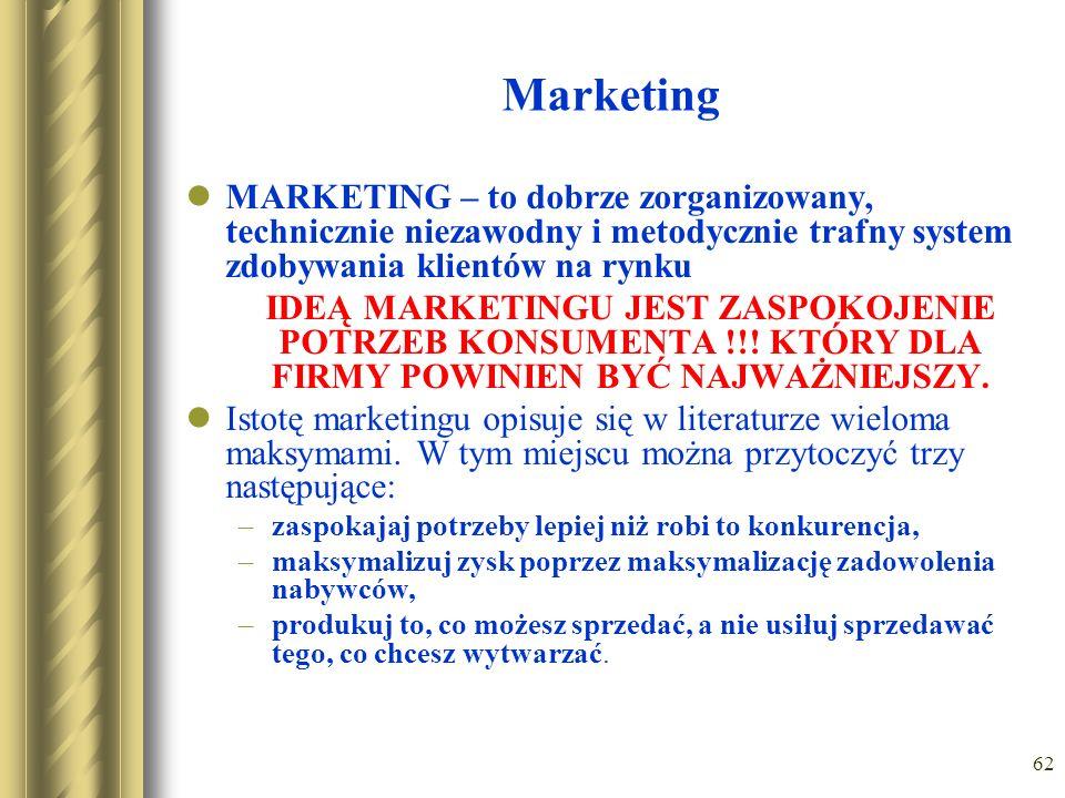 62 Marketing MARKETING – to dobrze zorganizowany, technicznie niezawodny i metodycznie trafny system zdobywania klientów na rynku IDEĄ MARKETINGU JEST