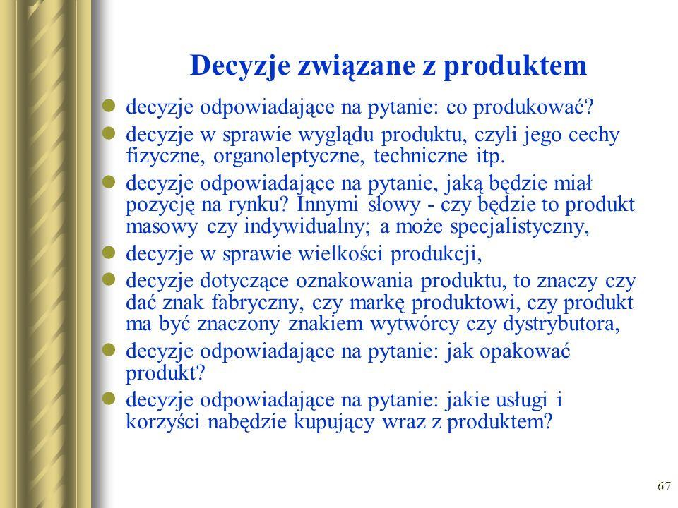 67 Decyzje związane z produktem decyzje odpowiadające na pytanie: co produkować? decyzje w sprawie wyglądu produktu, czyli jego cechy fizyczne, organo