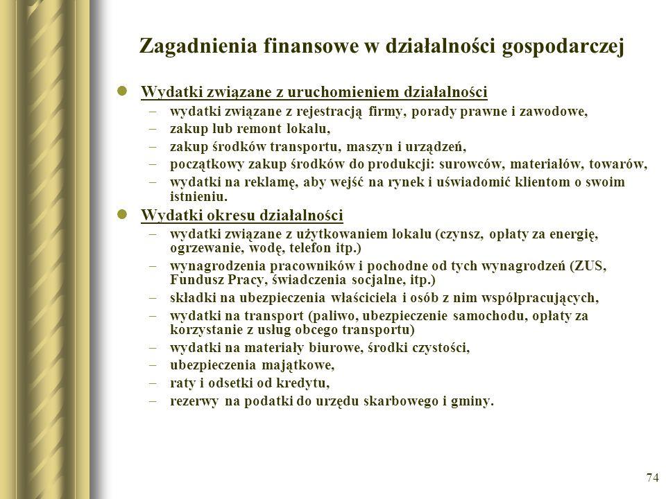 74 Zagadnienia finansowe w działalności gospodarczej Wydatki związane z uruchomieniem działalności –wydatki związane z rejestracją firmy, porady prawn