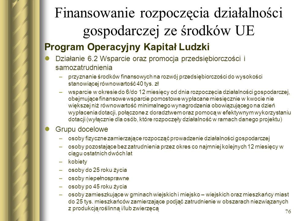 Finansowanie rozpoczęcia działalności gospodarczej ze środków UE Program Operacyjny Kapitał Ludzki Działanie 6.2 Wsparcie oraz promocja przedsiębiorcz