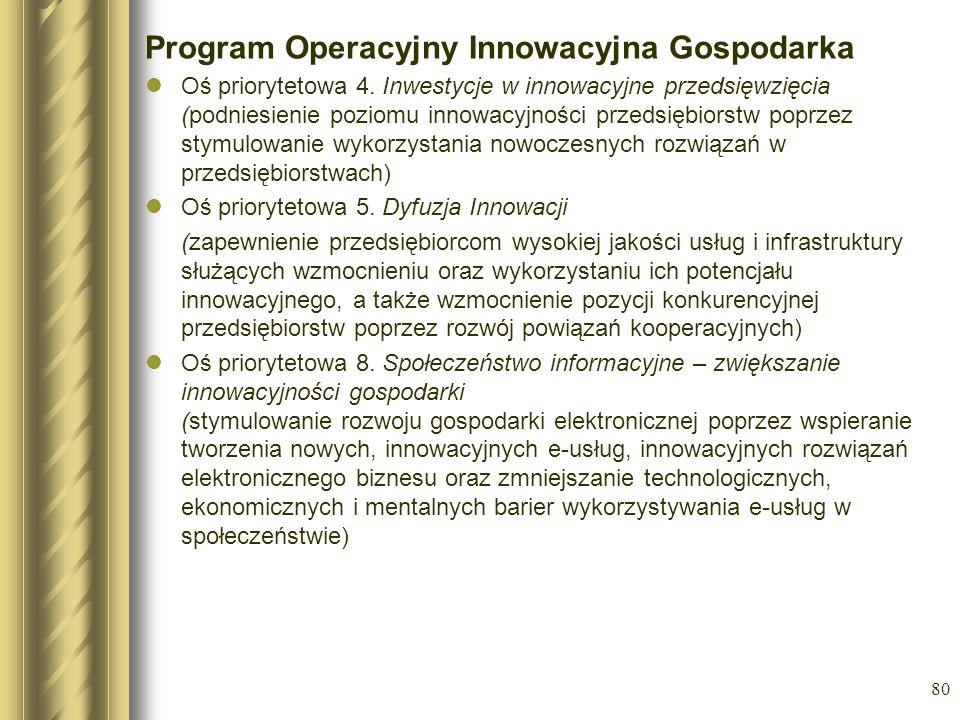 80 Program Operacyjny Innowacyjna Gospodarka Oś priorytetowa 4. Inwestycje w innowacyjne przedsięwzięcia (podniesienie poziomu innowacyjności przedsię