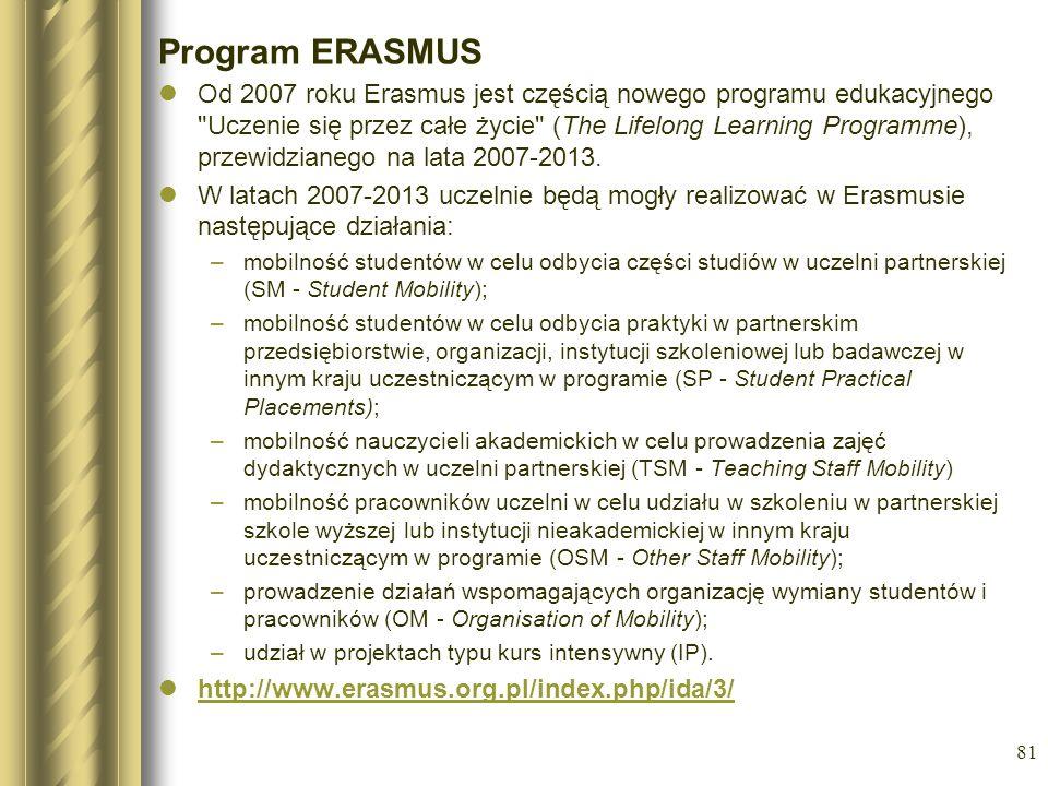 81 Program ERASMUS Od 2007 roku Erasmus jest częścią nowego programu edukacyjnego