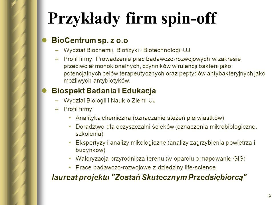 Przykłady firm spin-off BioCentrum sp. z o.o –Wydział Biochemii, Biofizyki i Biotechnologii UJ –Profil firmy: Prowadzenie prac badawczo-rozwojowych w