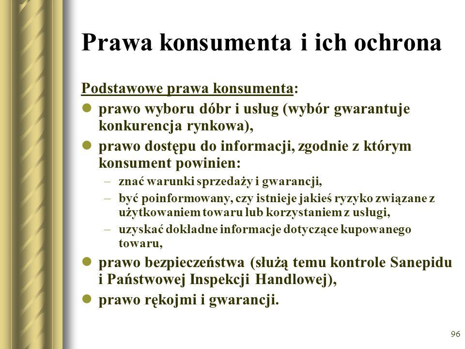 96 Prawa konsumenta i ich ochrona Podstawowe prawa konsumenta: prawo wyboru dóbr i usług (wybór gwarantuje konkurencja rynkowa), prawo dostępu do info