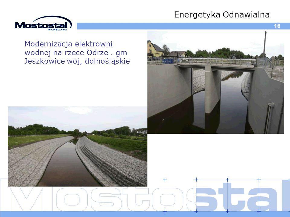16 Energetyka Odnawialna Modernizacja elektrowni wodnej na rzece Odrze. gm Jeszkowice woj, dolnośląskie