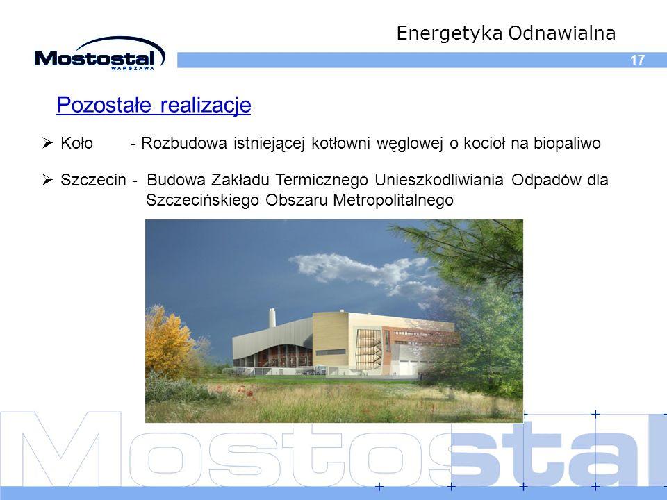 17 Energetyka Odnawialna Koło - Rozbudowa istniejącej kotłowni węglowej o kocioł na biopaliwo Pozostałe realizacje Szczecin - Budowa Zakładu Termiczne
